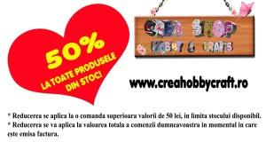 50% reducere la toate produsele pe stoc la http://creahobbycraft.ro/