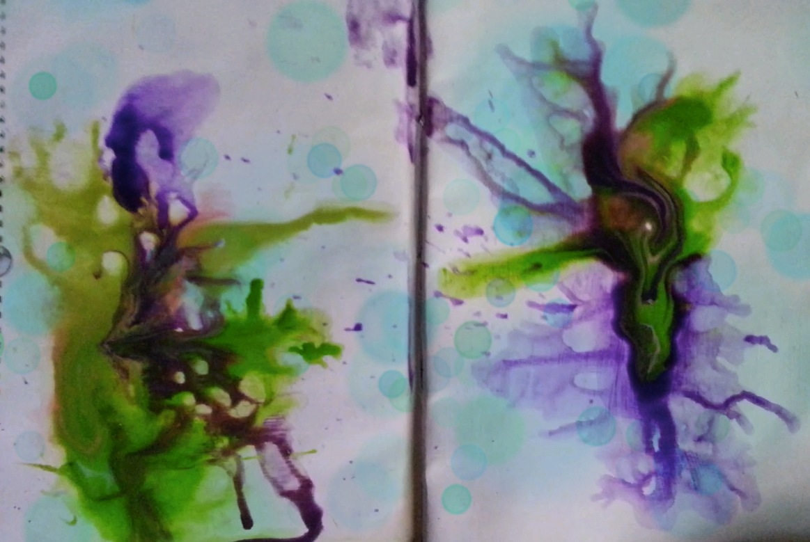 Journal page play: acrylic splash by Cristina Parus @ creativemag.ro
