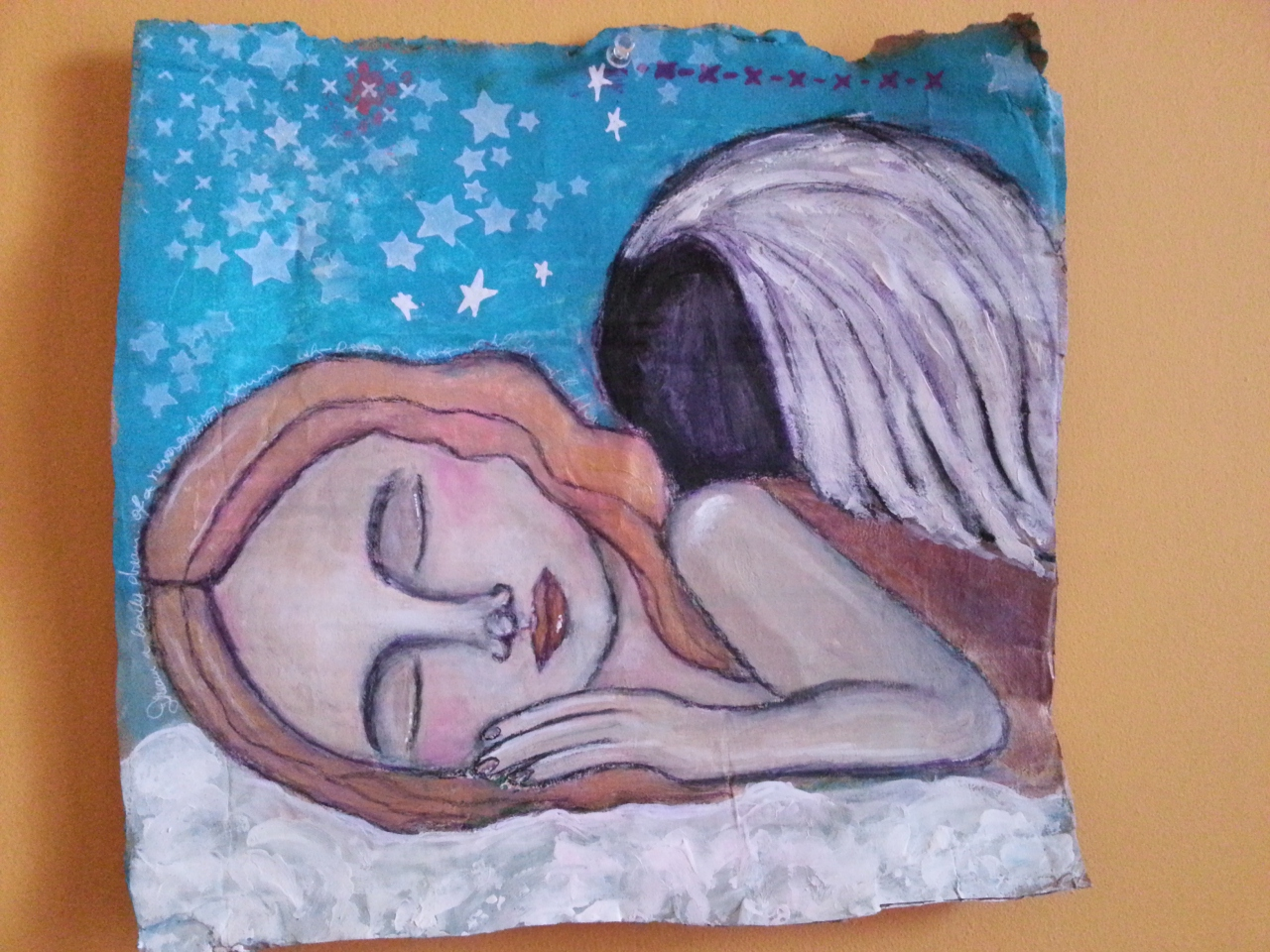Guardian Angel Acrylic Painting Pam Carriker Inspired - by Cristina Parus @ Creativemag.ro